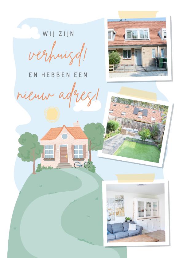 Verhuiskaarten - Verhuiskaart met fotocollage en illustratie van een huis.