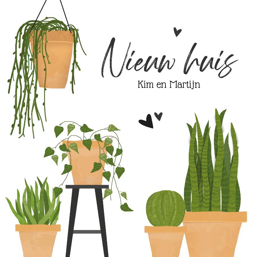 Verhuiskaarten - Verhuiskaart met groene planten nieuw huis
