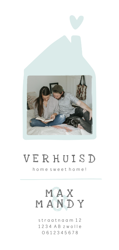 Verhuiskaarten - Verhuiskaart met lief huisje en foto langwerpig