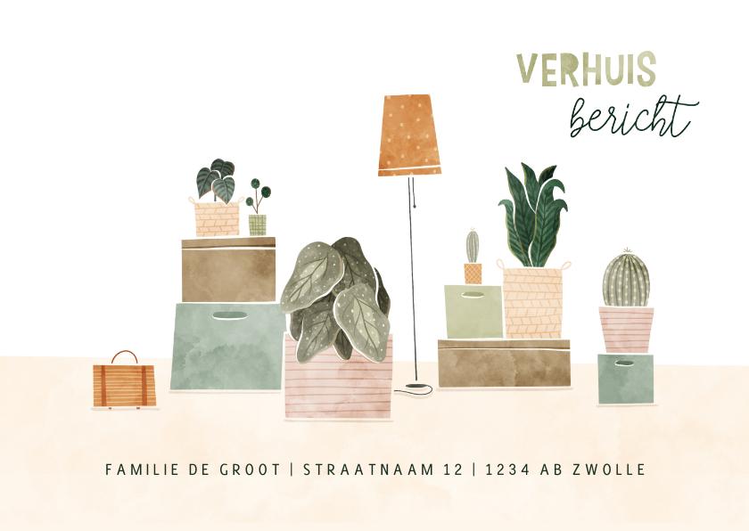 Verhuiskaarten - Verhuiskaart met plantjes en verhuisdozen verhuisbericht