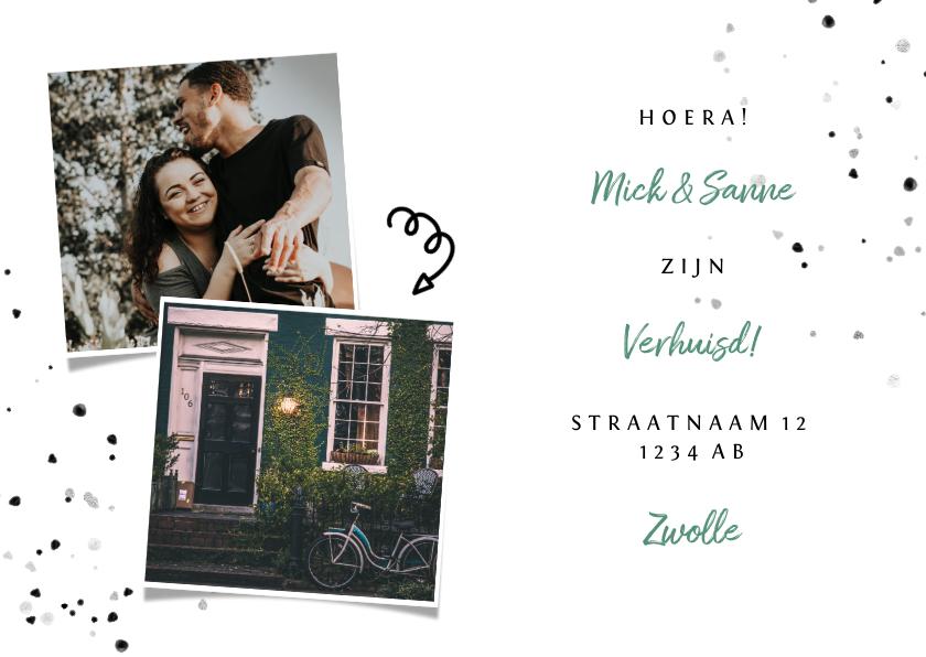 Verhuiskaarten - Verhuiskaart met spetters en foto's