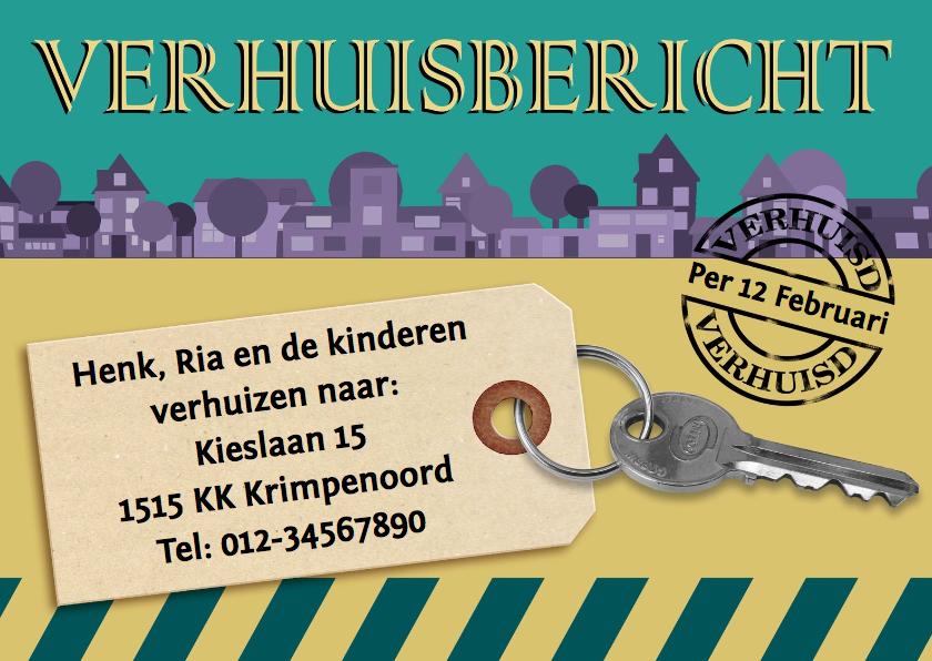 Verhuiskaarten - Verhuiskaart modern sleutel - HE