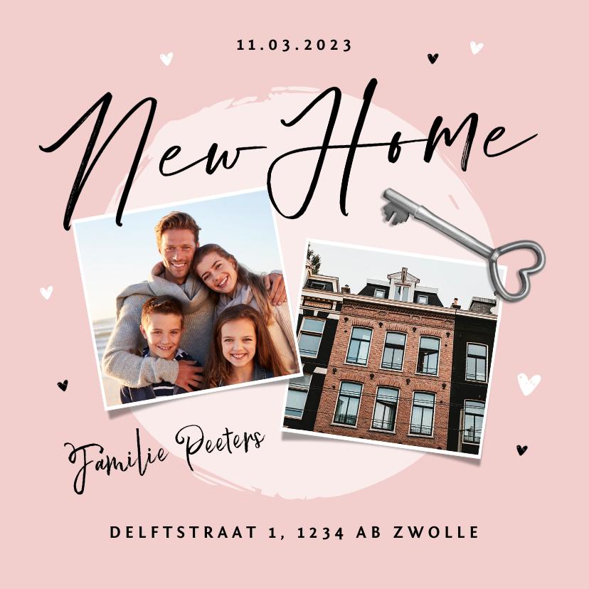 Verhuiskaarten - Verhuiskaart new home foto sleutel hartjes
