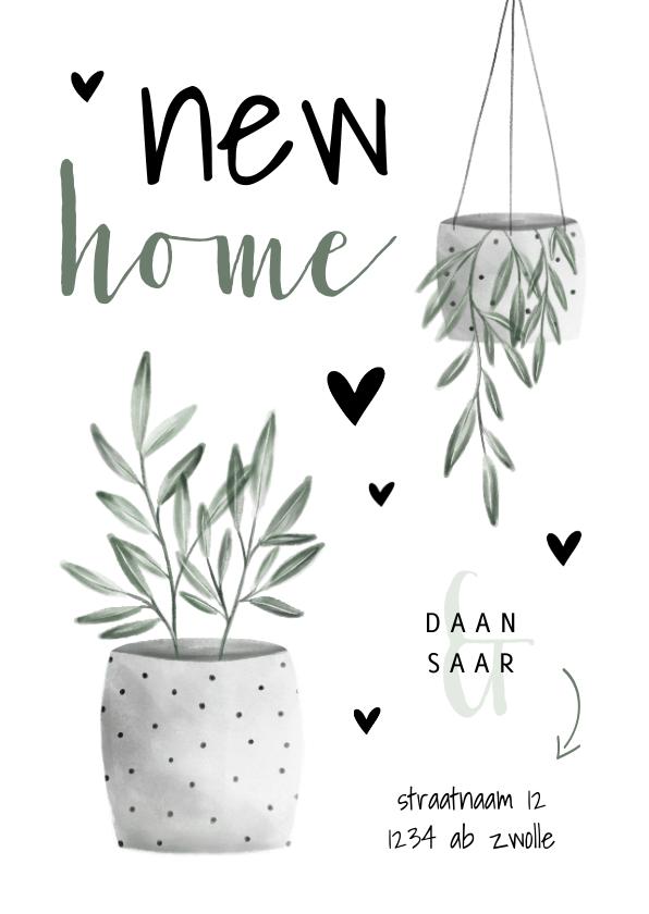 Verhuiskaarten - Verhuiskaart new home met planten en hartjes
