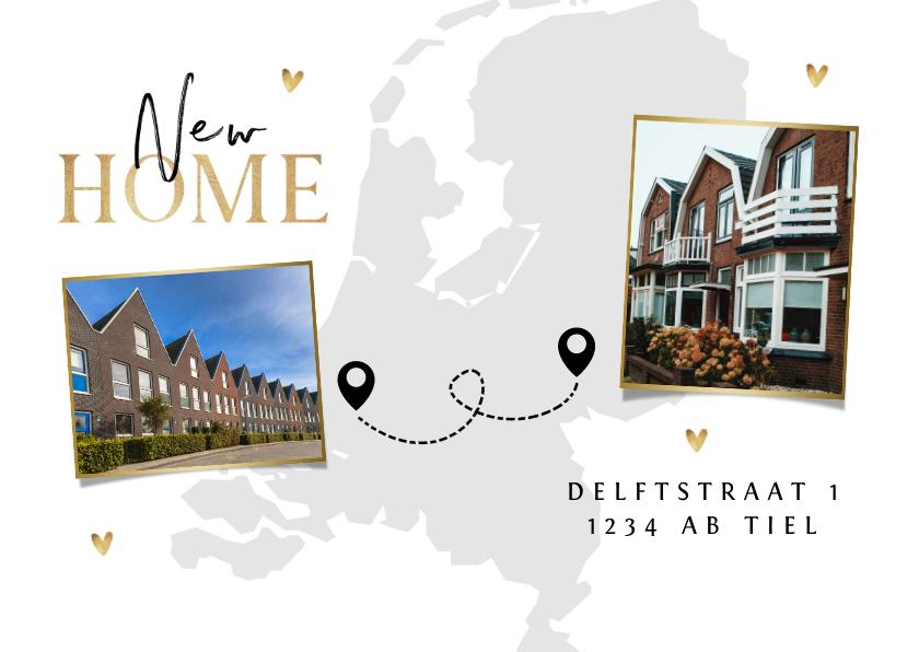 Verhuiskaarten - Verhuiskaart new home nieuwe woning goud foto landkaart