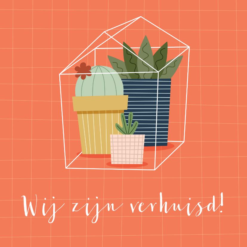 Verhuiskaarten - Verhuiskaart nieuw adres met plantjes in huisje