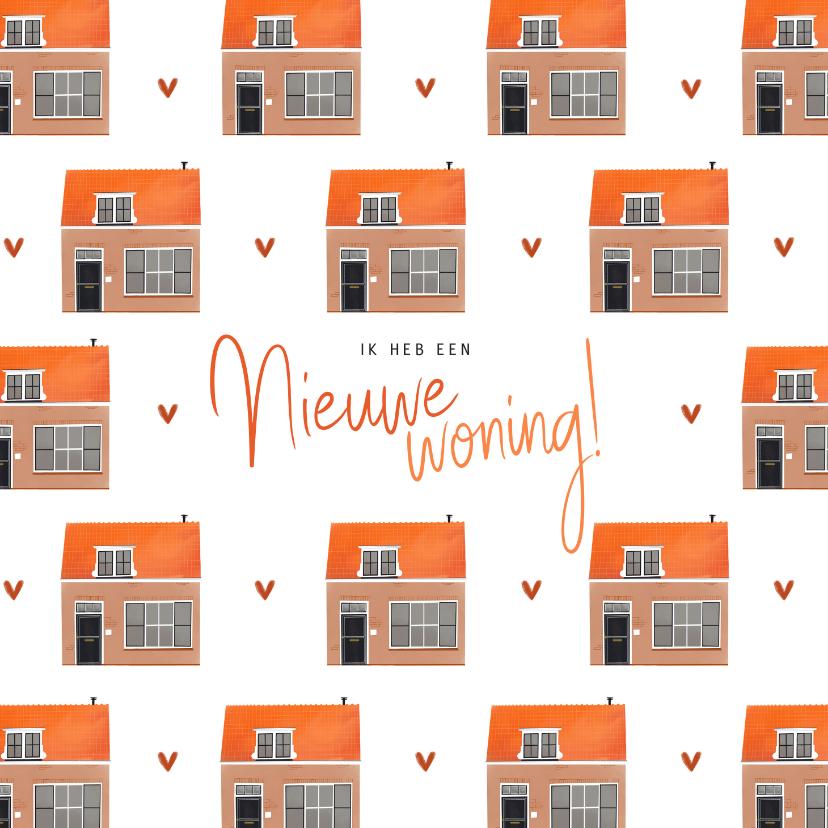 Verhuiskaarten - Verhuiskaart nieuwe woning huizen patroon illustratie