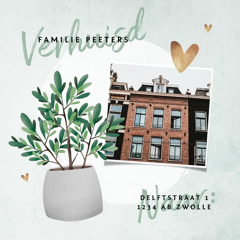 Verhuiskaarten - Verhuiskaart plant met foto en betonlook achtergrond