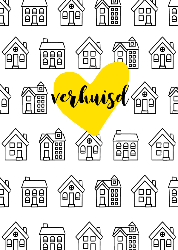 Verhuiskaarten -  Verhuiskaart rechthoekig met getekende zwart-witte huisjes