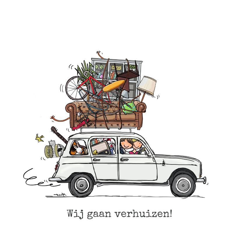 Verhuiskaarten - Verhuiskaart Renault 4 Wit