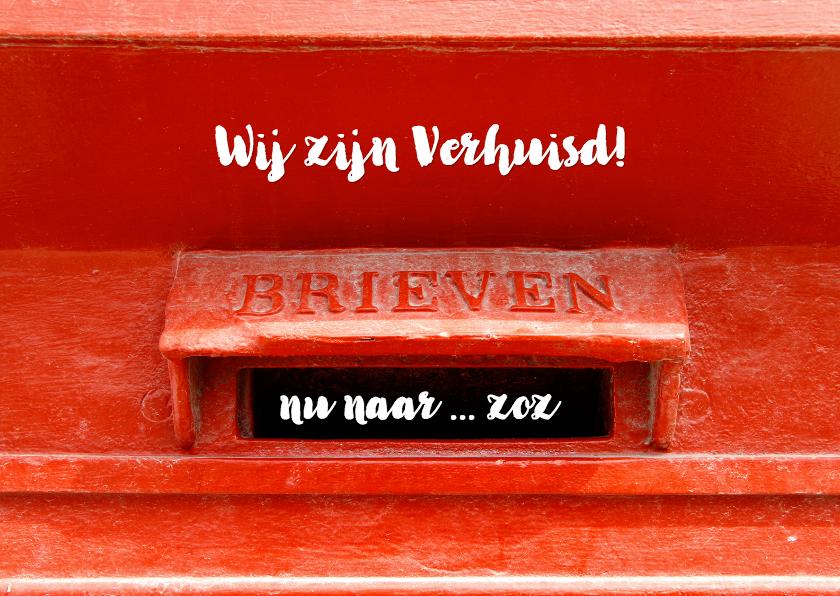 Verhuiskaarten - Verhuiskaart Retro Rode Brievenbus