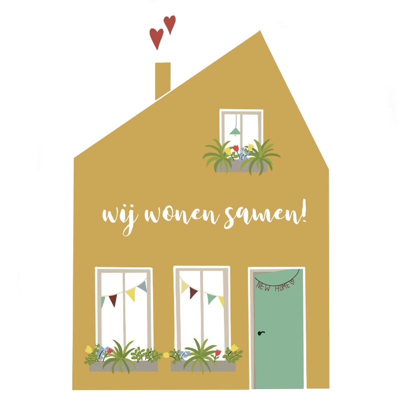 Verhuiskaarten - Verhuiskaart Samenwonen Huis met hartjes