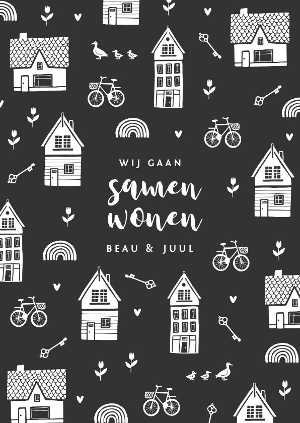 Verhuiskaarten - Verhuiskaart samenwonen huisjes sleutels tulpen fiets hartje