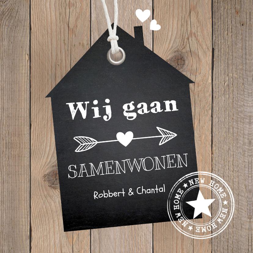 Verhuiskaarten - Verhuiskaart samenwonen label huis houtlook