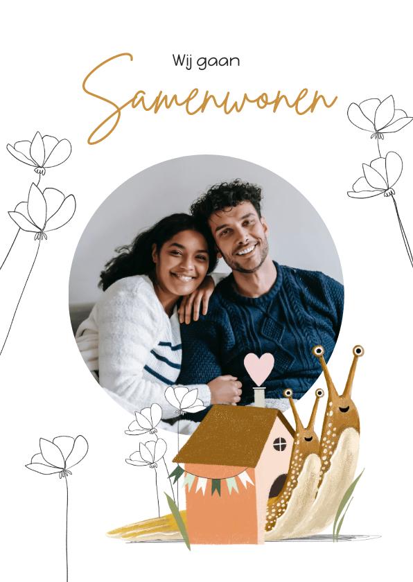 Verhuiskaarten - Verhuiskaart samenwonen met vrolijke illustratie en foto