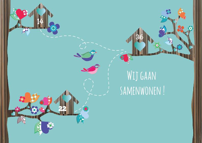 Verhuiskaarten - Verhuiskaart samenwonen vogels
