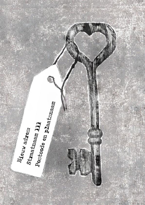 Verhuiskaarten - Verhuiskaart sleutel met kaartje
