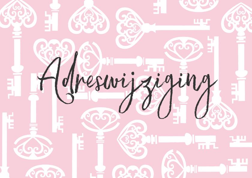 Verhuiskaarten - Verhuiskaart sleutels roze