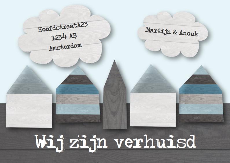Verhuiskaarten - Verhuiskaart steigerhout huisjes