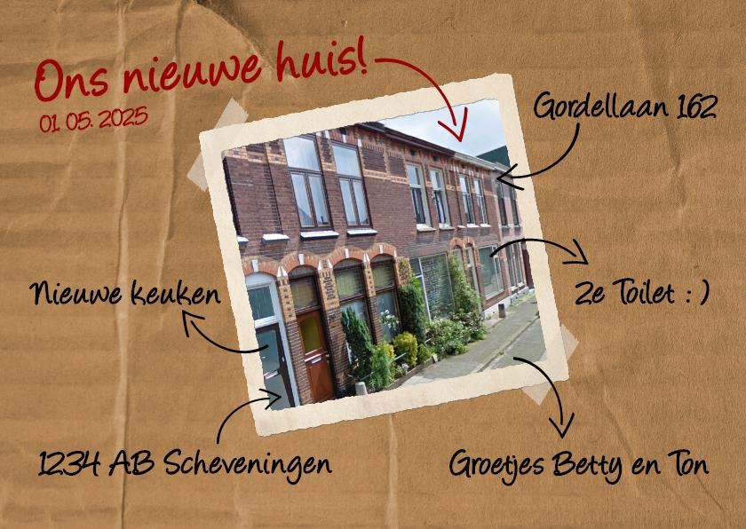 Verhuiskaarten - Verhuiskaart stift - BK