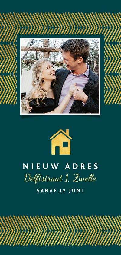 Verhuiskaarten - Verhuiskaart stijlvol goud foto huisje patroon