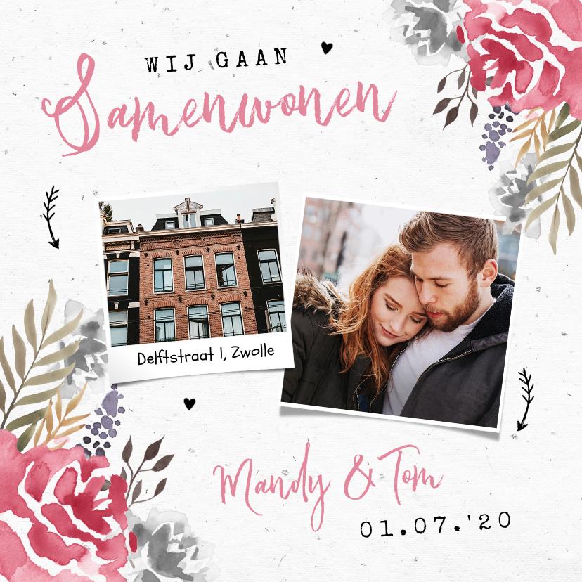 Verhuiskaarten - Verhuiskaart stijlvol samenwonen bloemen roze foto