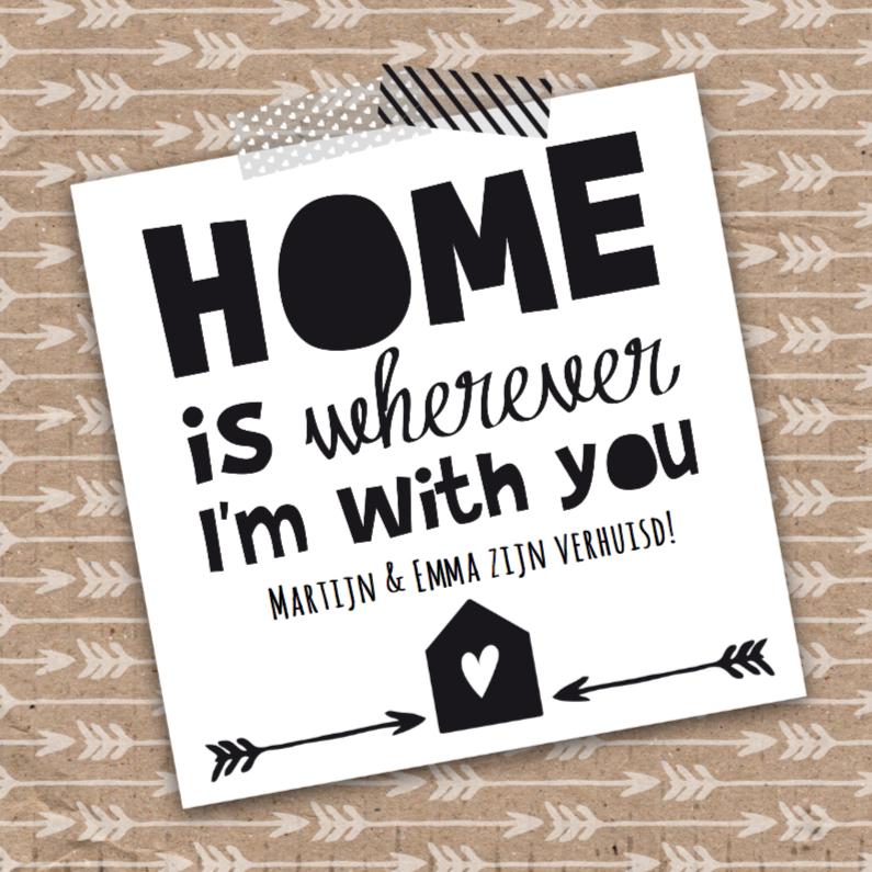 Verhuiskaarten - Verhuiskaart stoer zwartwit kraftlook