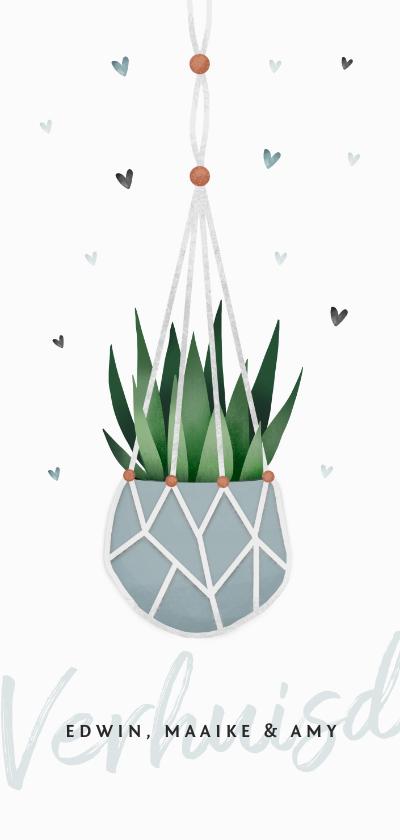 Verhuiskaarten - Verhuiskaart verhuisd macrame plant en hartjes