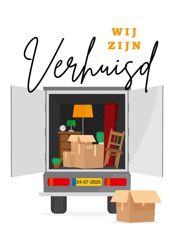 Verhuiskaarten - Verhuiskaart verhuiswagen illustratie dozen spullen