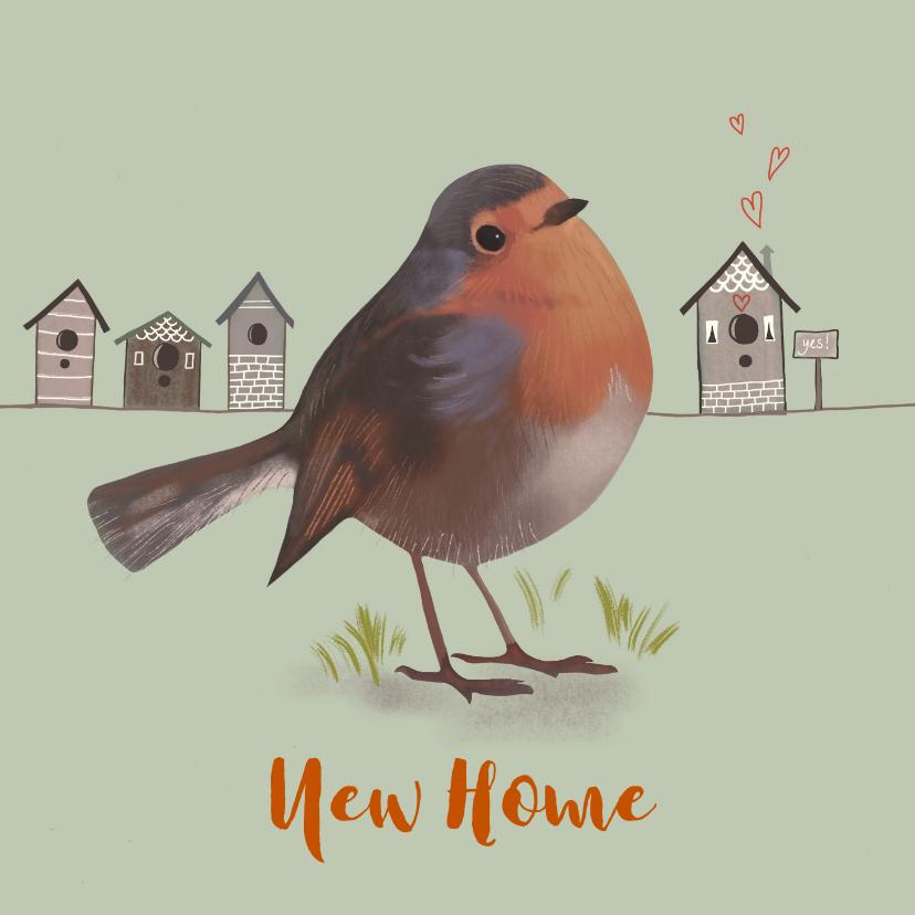 Verhuiskaarten - Verhuiskaart vogel roodborstje