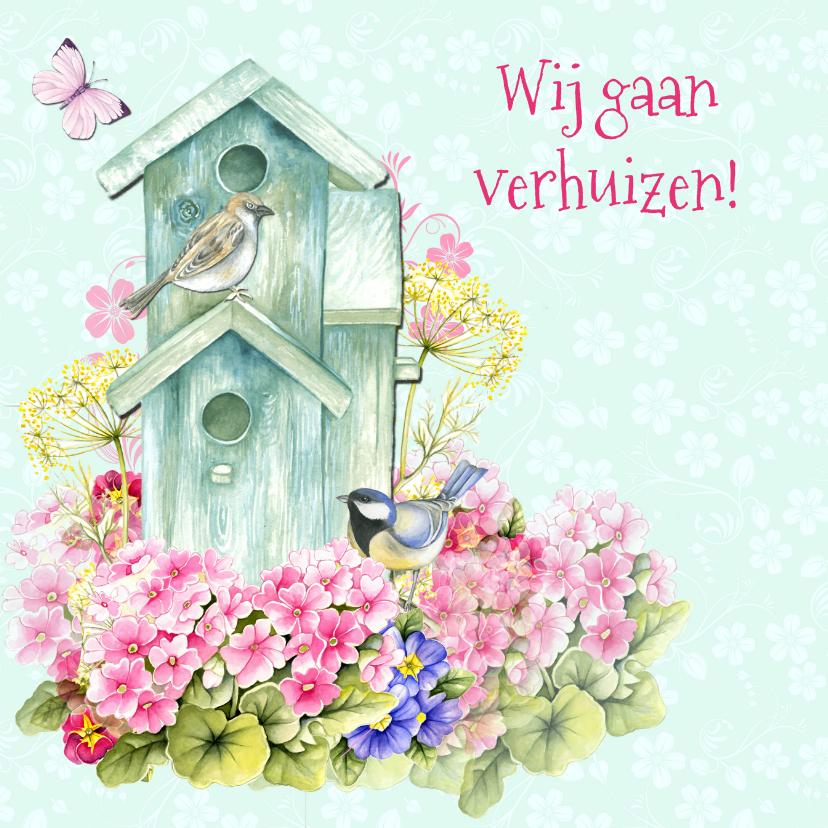 Verhuiskaarten - verhuiskaart vogelhuis bloemen