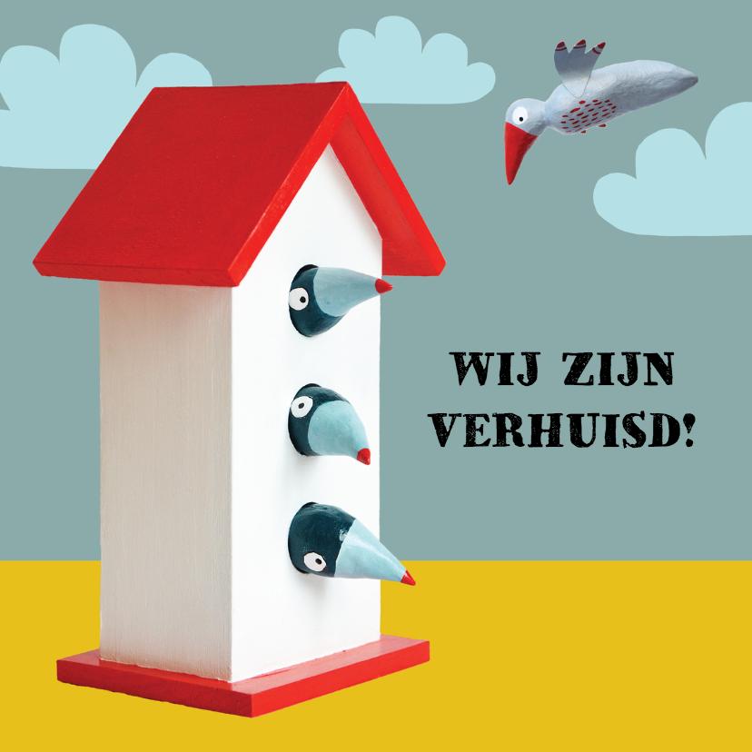 Verhuiskaarten - Verhuiskaart vogelhuisje