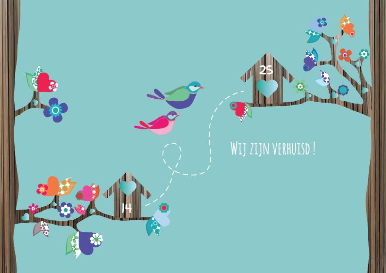 Verhuiskaarten - Verhuiskaart Vogels harthuisjes