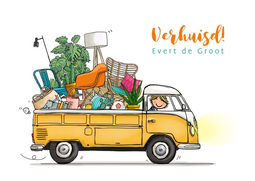 Verhuiskaarten - Verhuiskaart Volkswagen pick-up kleurrijk