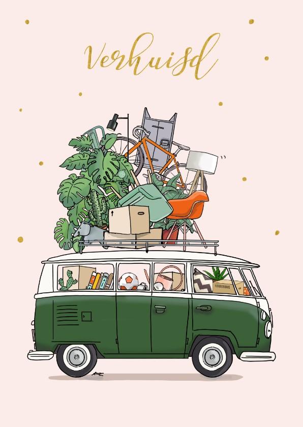 Verhuiskaarten - Verhuiskaart Volkswagenbusje groen