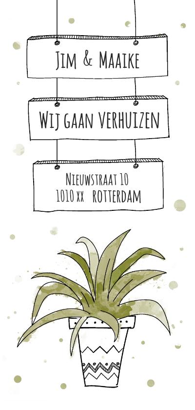 Verhuiskaarten - Verhuiskaart voor nieuw adres met hippe kamerplant