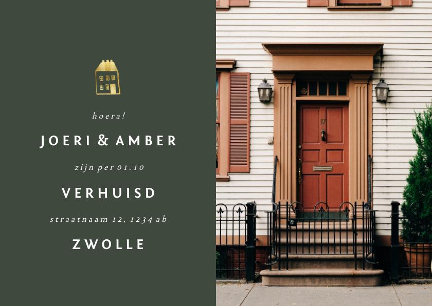 Verhuiskaarten - Verhuiskaartje met foto en gouden huisje