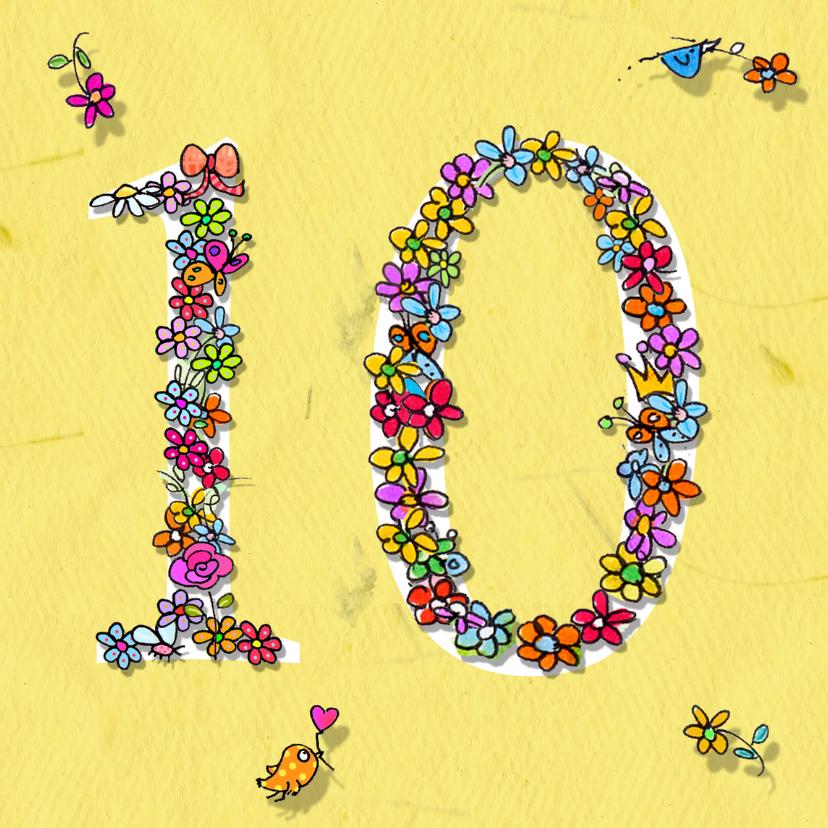 Verjaardagskaarten - 10 jaar bloemen