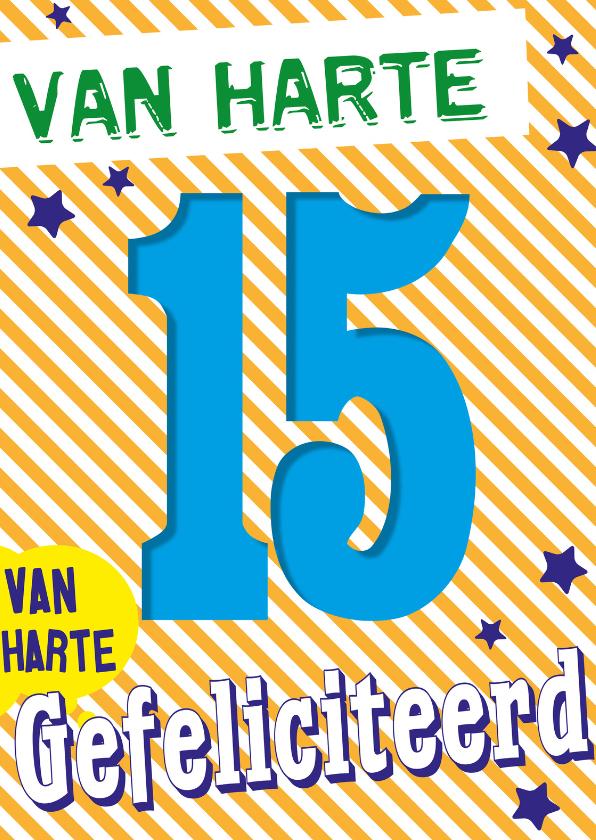 Verjaardagskaarten - 15 jaar van harte -BF