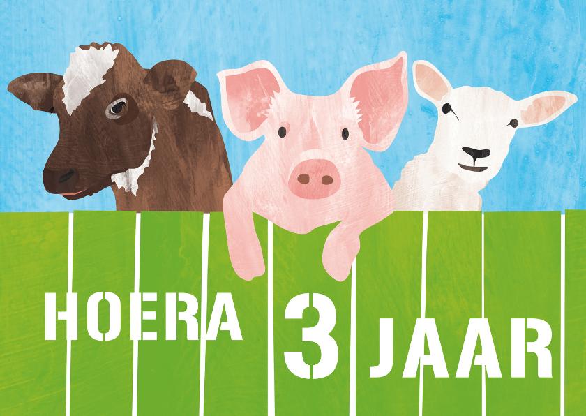 Verjaardagskaarten - 3 jaar koe varken en schaap