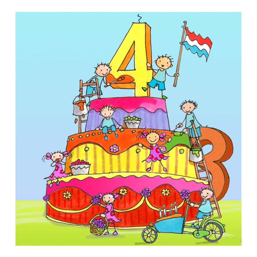 verjaardagskaart 4 jaar 4 jaar AIllustraties   Verjaardagskaarten | Kaartje2go verjaardagskaart 4 jaar