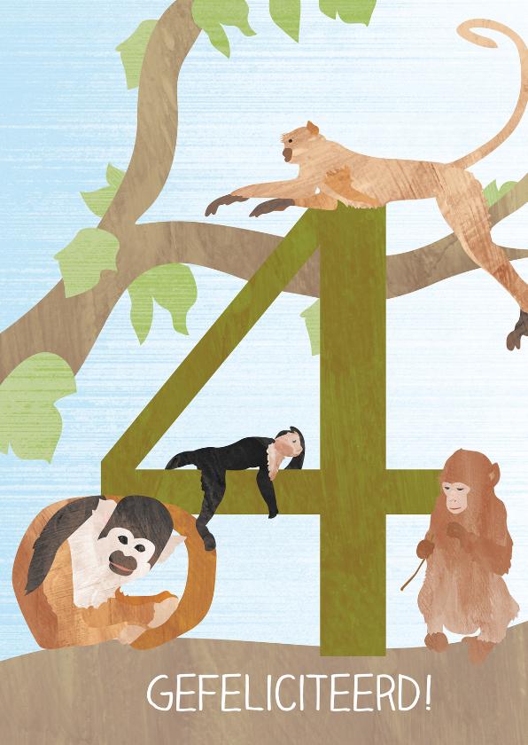 Verjaardagskaarten - 4 jaar met aapjes