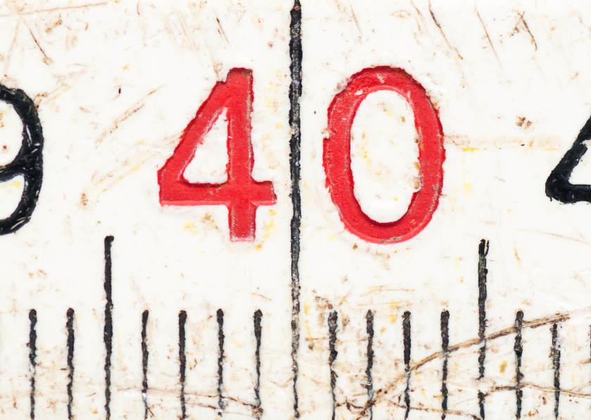 Verjaardagskaarten - 40 op oude witte duimstok