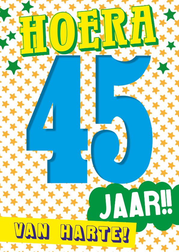 Verjaardagskaarten - 45 jaar hoera van harte -BF