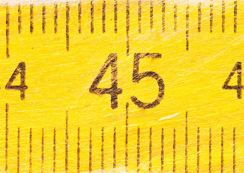 Verjaardagskaarten - 45 jaar op gele duimstok