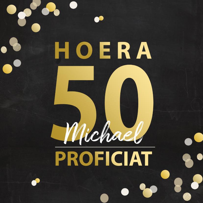 Verjaardagskaarten - Verjaardag 50 goudlook met confetti
