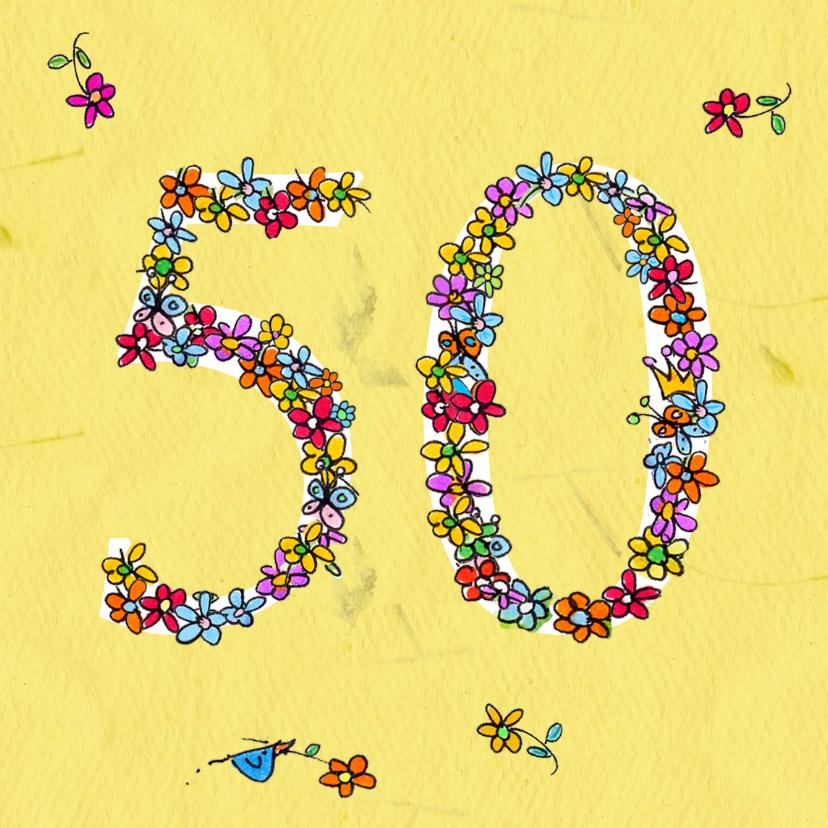 Verjaardagskaarten - 50 jaar bloementjes