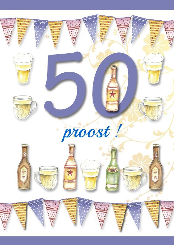 Verjaardagskaarten - 50 jaar met bierflesjes en vlaggetjes