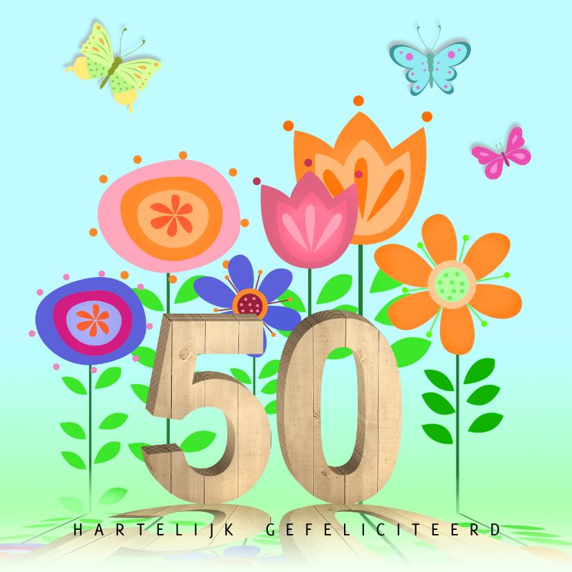 Verjaardagskaarten - 50 jaar met bloemen en vlinders