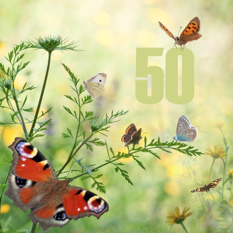 Verjaardagskaarten - 50 jaar met vlinders